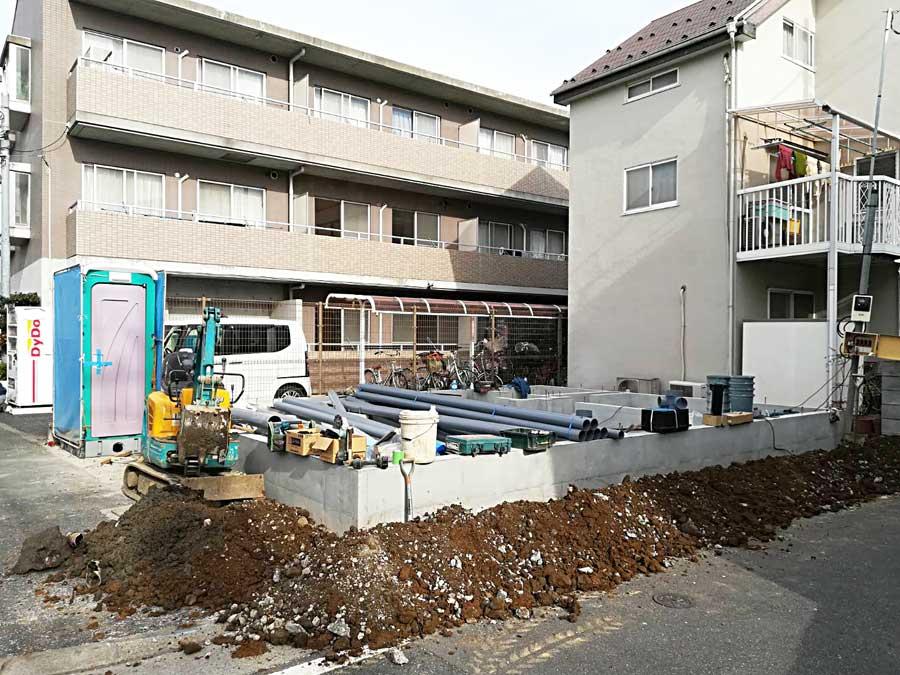 給水管と排水管の施工